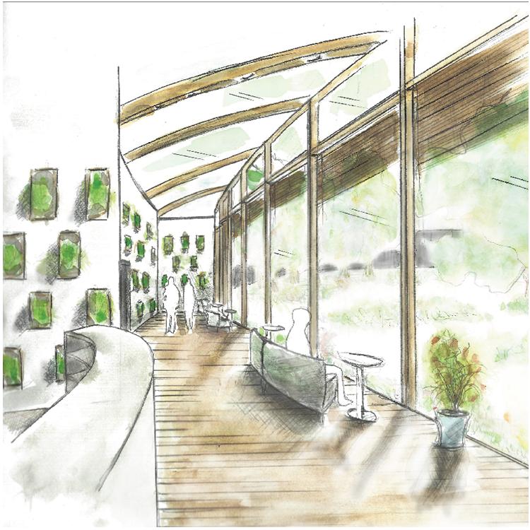 Exam Corridor, Interior Concept by Sharla Thiesen for her Final Defense Presentation  Washington State University, 2018