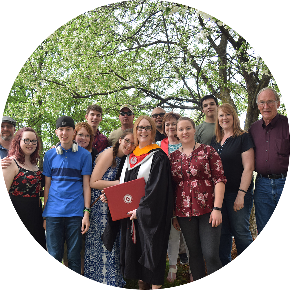 Sharla celebrating her Master of Arts in Interior Design with her family and friends.  Washington State University,  Spring 2018 Commencement Ceremony