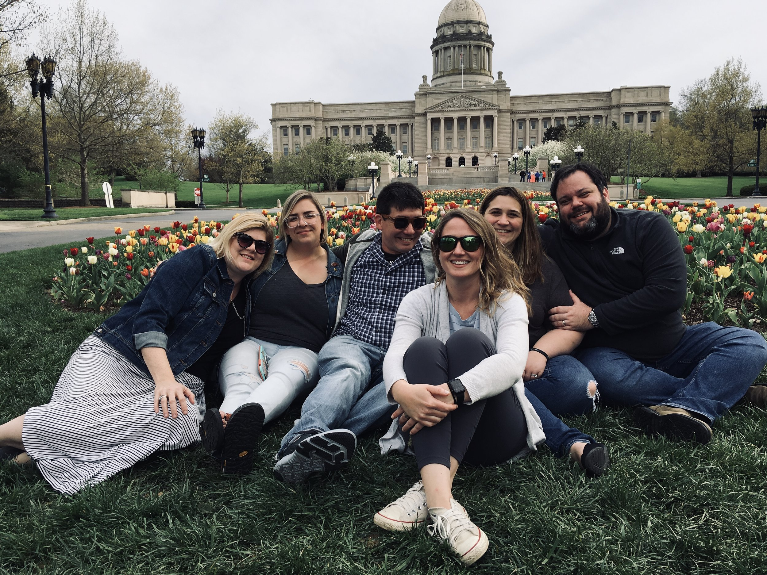Group pic after a loooooong date of Bourbon Trail-ing in Kentucky