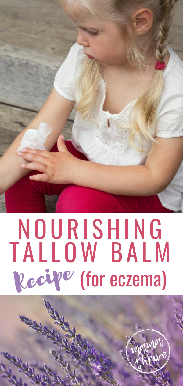 Looking for some eczema remedies? This treatment offers relief and is a simple DIY cream made with tallow and essential oils. A natural remedy safe enough to use on face, elbows, and on hands for baby, toddler, and kids. #eczema #eczemarelief #eczemacream #eczemaremedy #gaps #gapsdiet