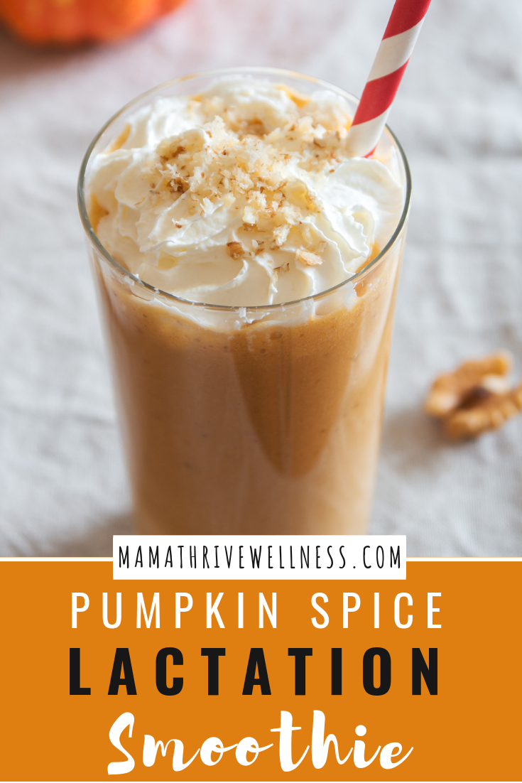Are you a breastfeeding mama looking to celebrate the pumpkin spice season with an easy recipe to help boost your milk supply? This simple, dairy-free lactation smoothie is the answer. Packed with lactogenic ingredients such as pumpkins, dates, carrots, cinnamon, & coconut milk; this super food smoothie is not only healthy, but helps promote milk supply. Add coffee for a delicious latte.  #lactationsmoothie   #breastfeedingsmoothie   #breastfeeding   #pumpkinspice   #pumpkinspicesmoothie