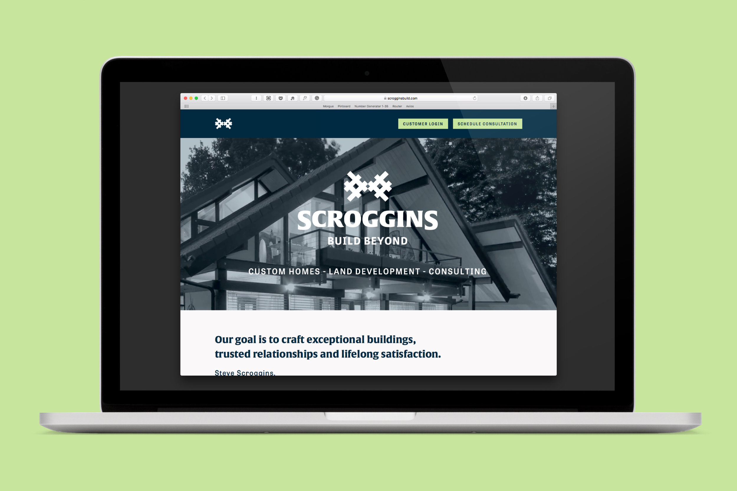 Single-page Squarespace page for Scroggins.