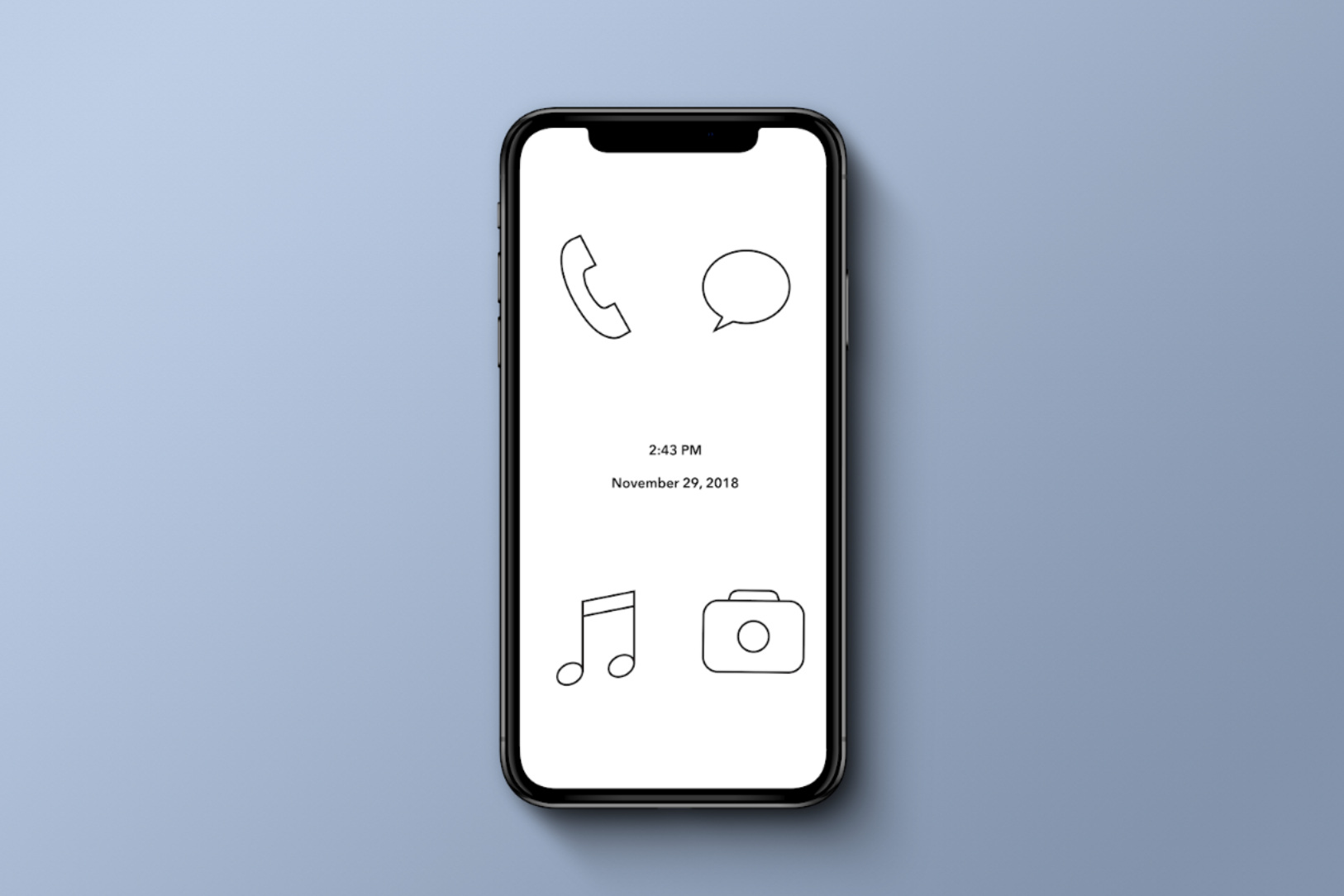 Minimal app concept with only four options.