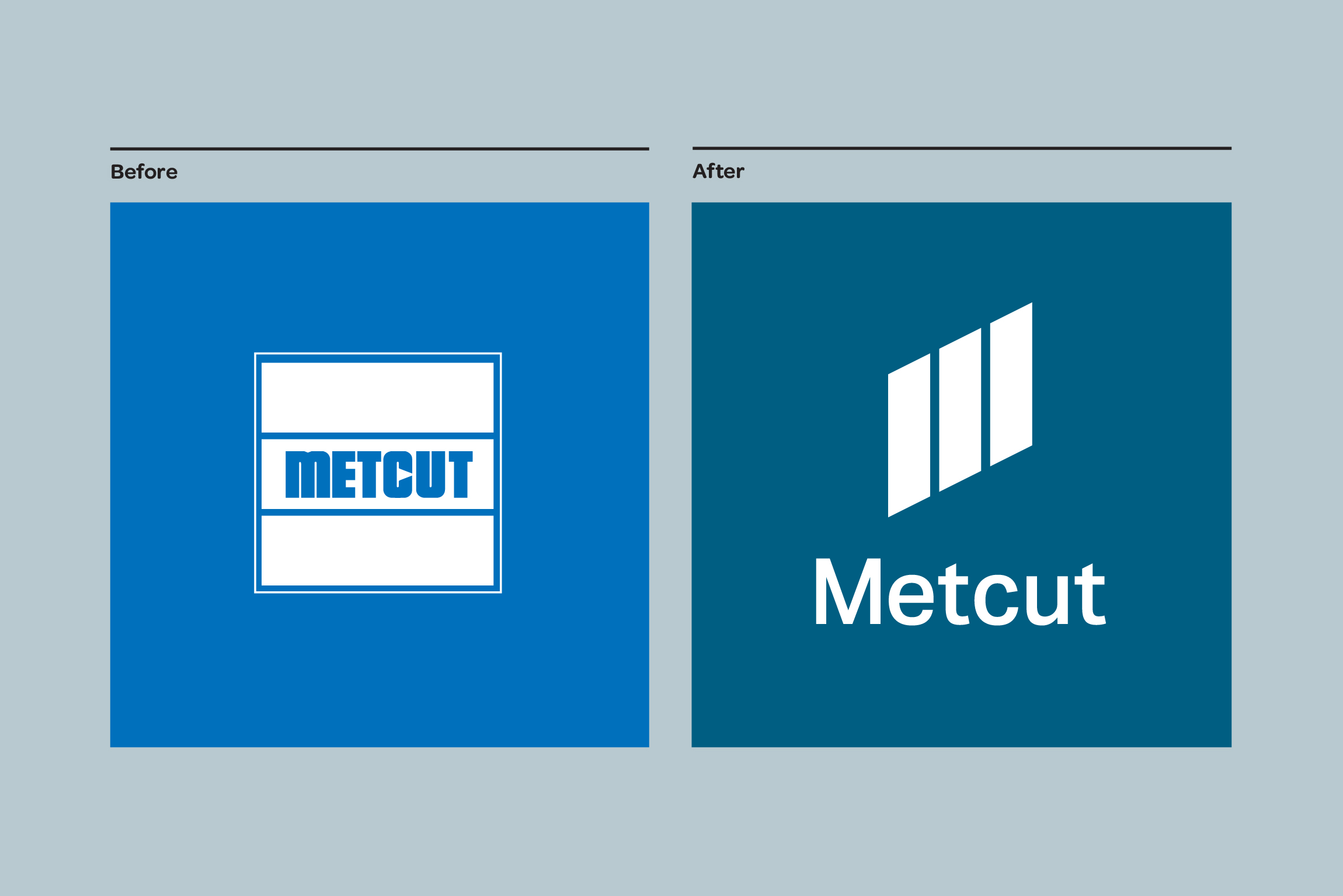 Before and After of the Metcut Logo