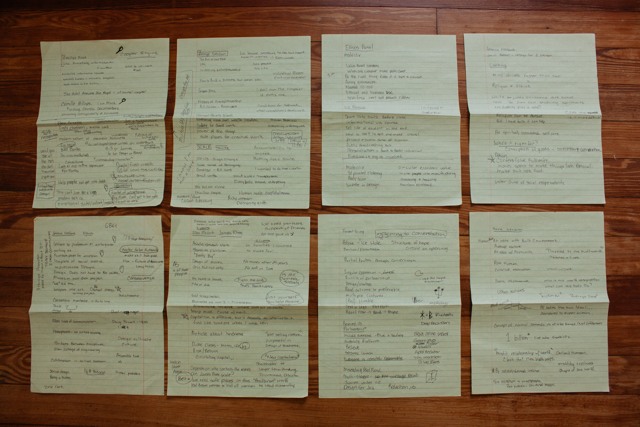 Eight of the many pages of notes I took from DB|BD.