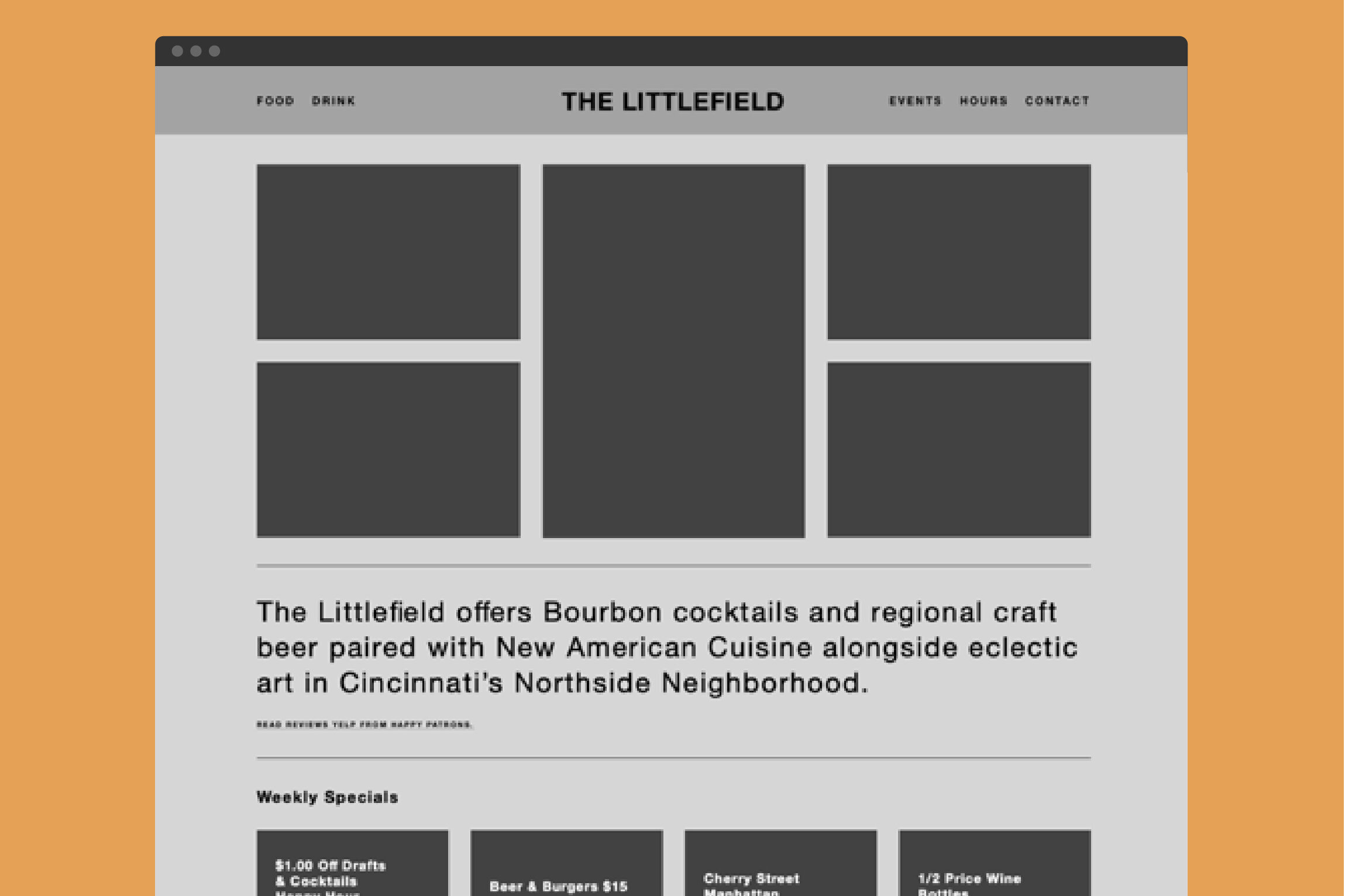 Wire-frame prototype of The Littlefield homepage