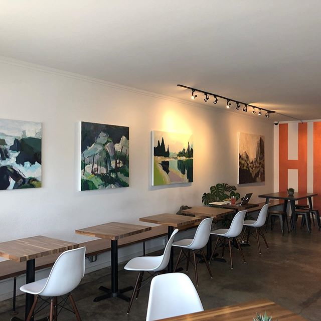 New paintings by talented Magnolia artist and friend Julie Devine now at HUB Coffee.Come support the arts!