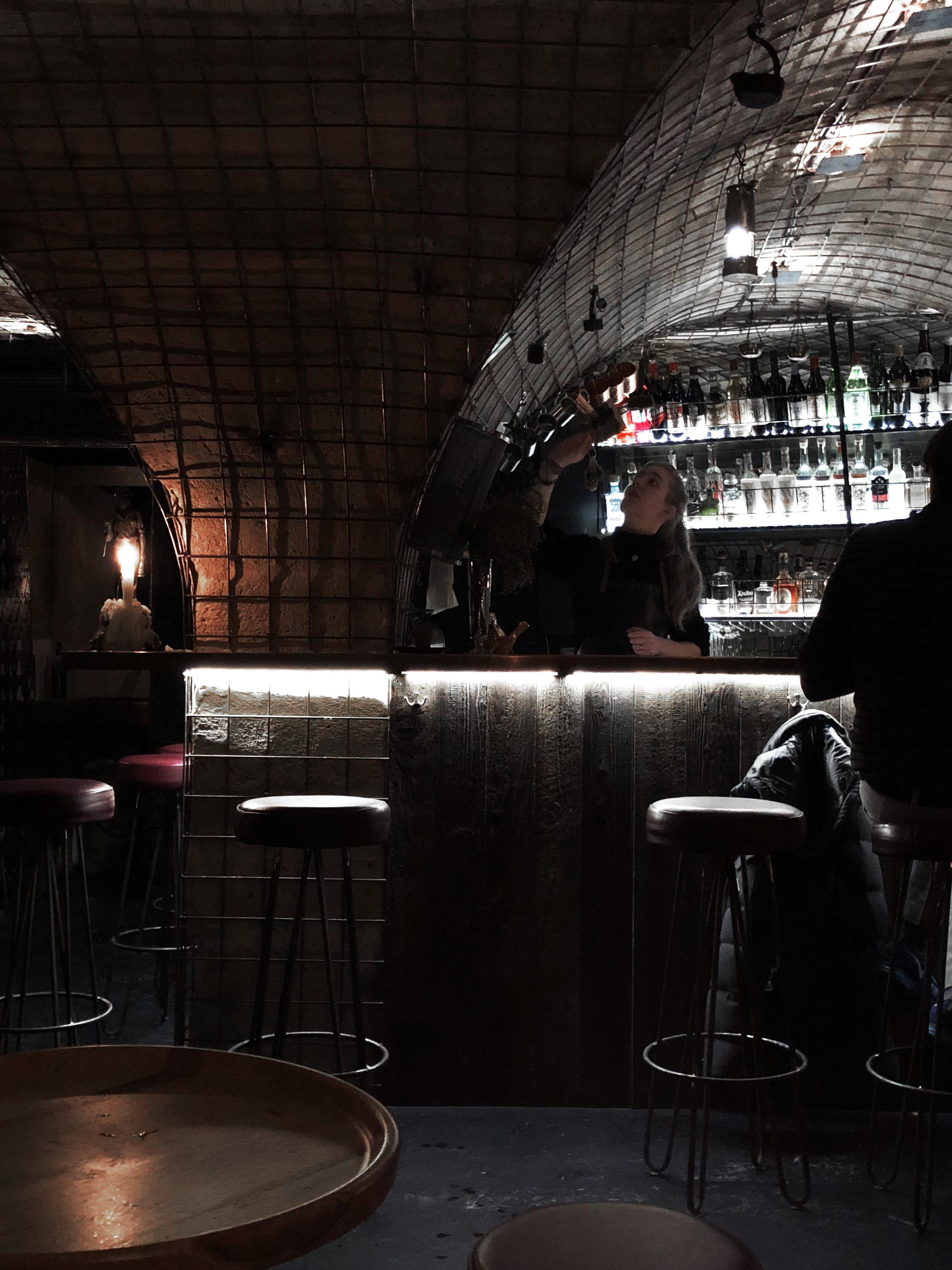 La Mina Cocktail Bar in the basement of Carbon, a restaurant in Le Marais.