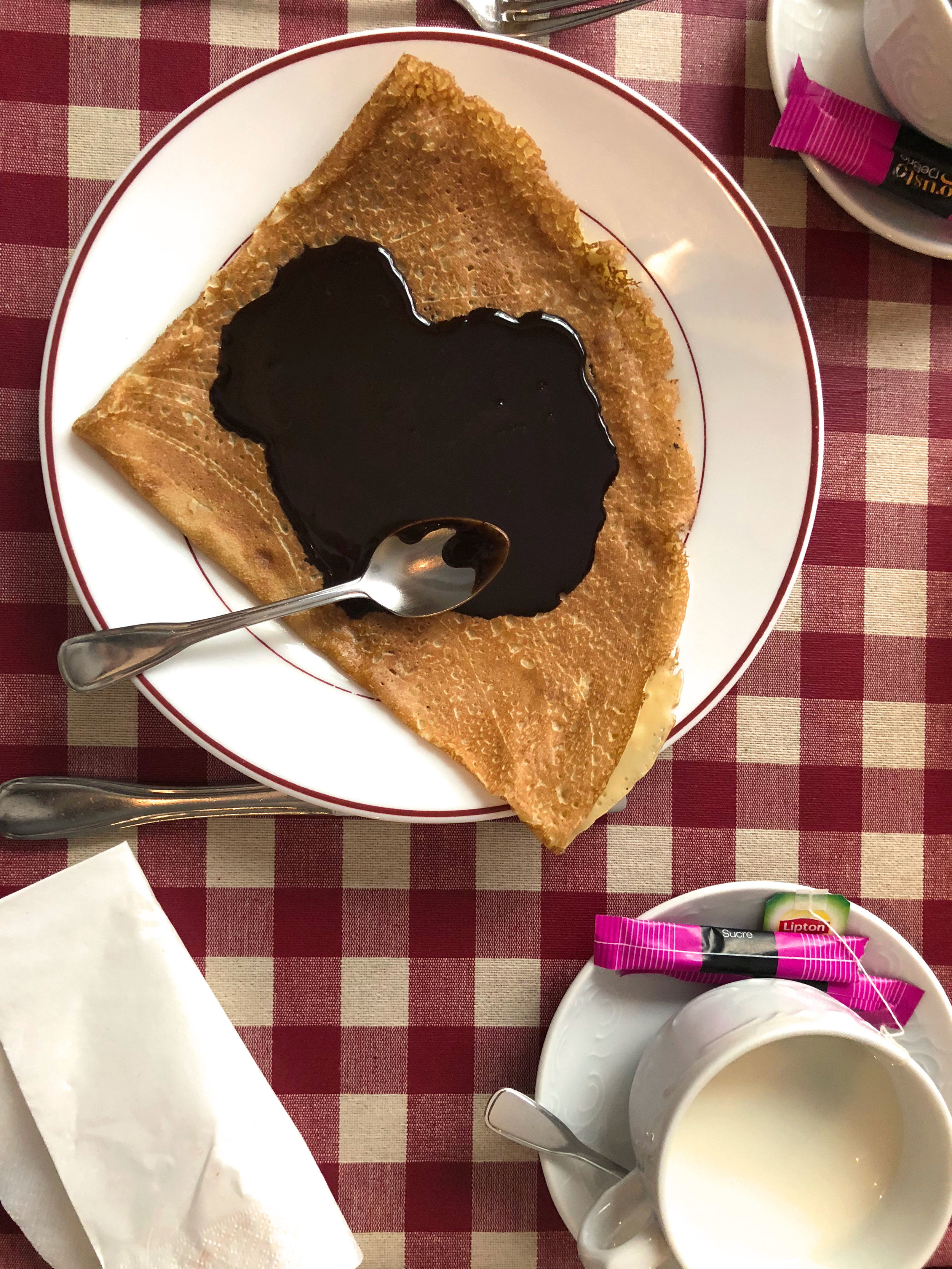 Thin, crispy crepe with homemade chocolate sauce. The Lipton tea they make in France is nothing like America - it's actually strangely good.