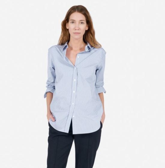 Blue Microstripe Collared Shirt
