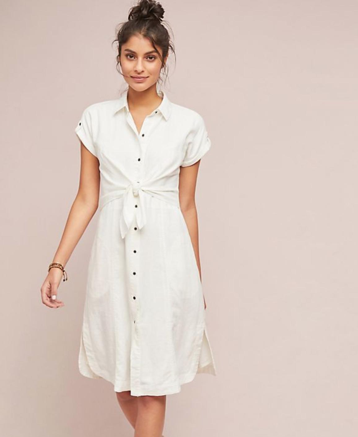 Anthropologie Linen Shirtdress