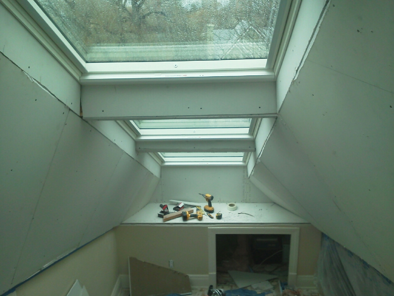 Drywall Flare-7 Skylights installed in attic