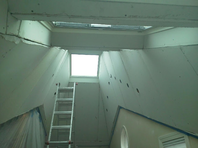 2nd View of flared drywall in attic
