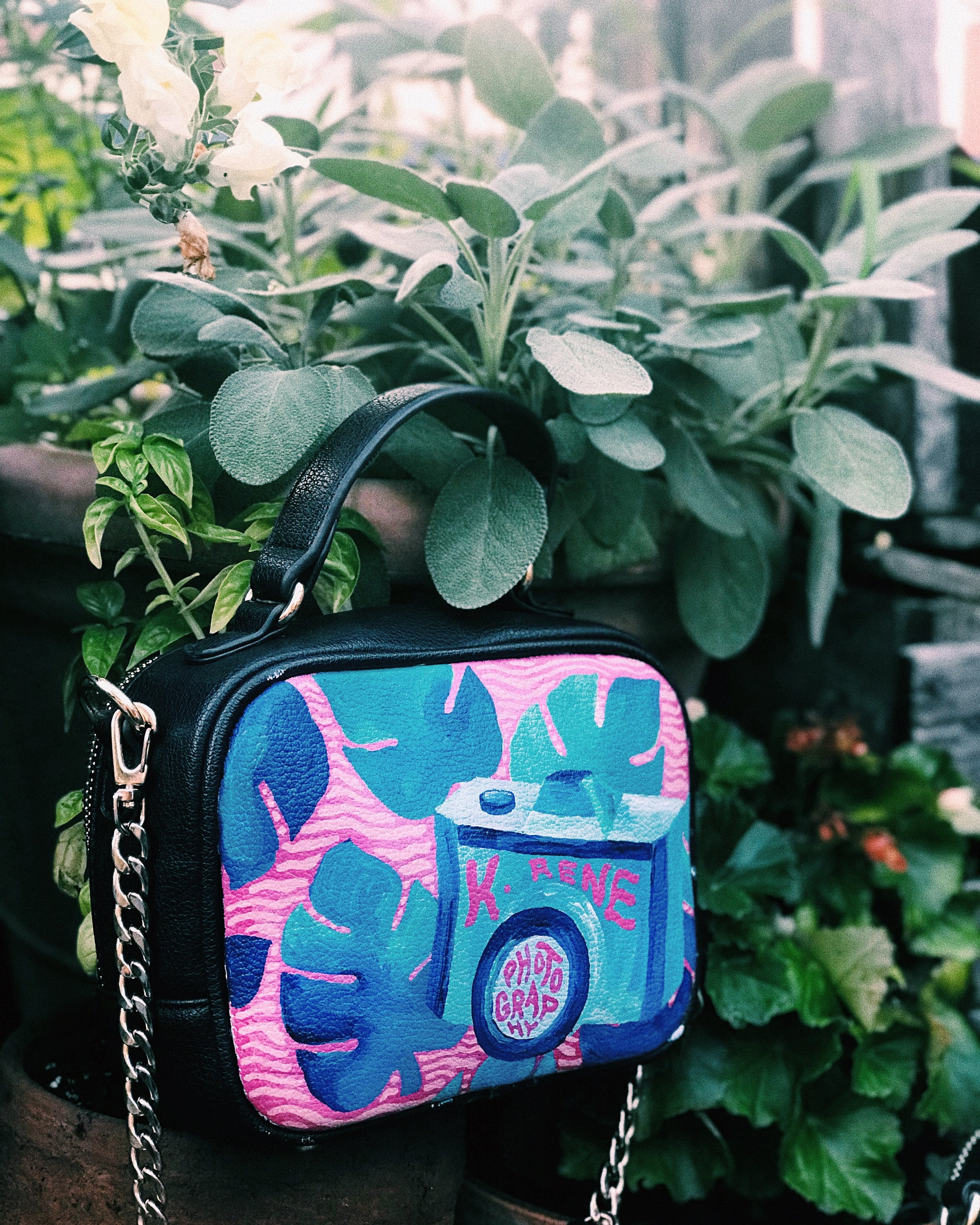 painted k. rene photo purse - 1/3 bags I customized for 3 babes KILLING their side hustle. Check out K. Rene's photo insta + website for the most breathtaking + FOMO inducing shots.