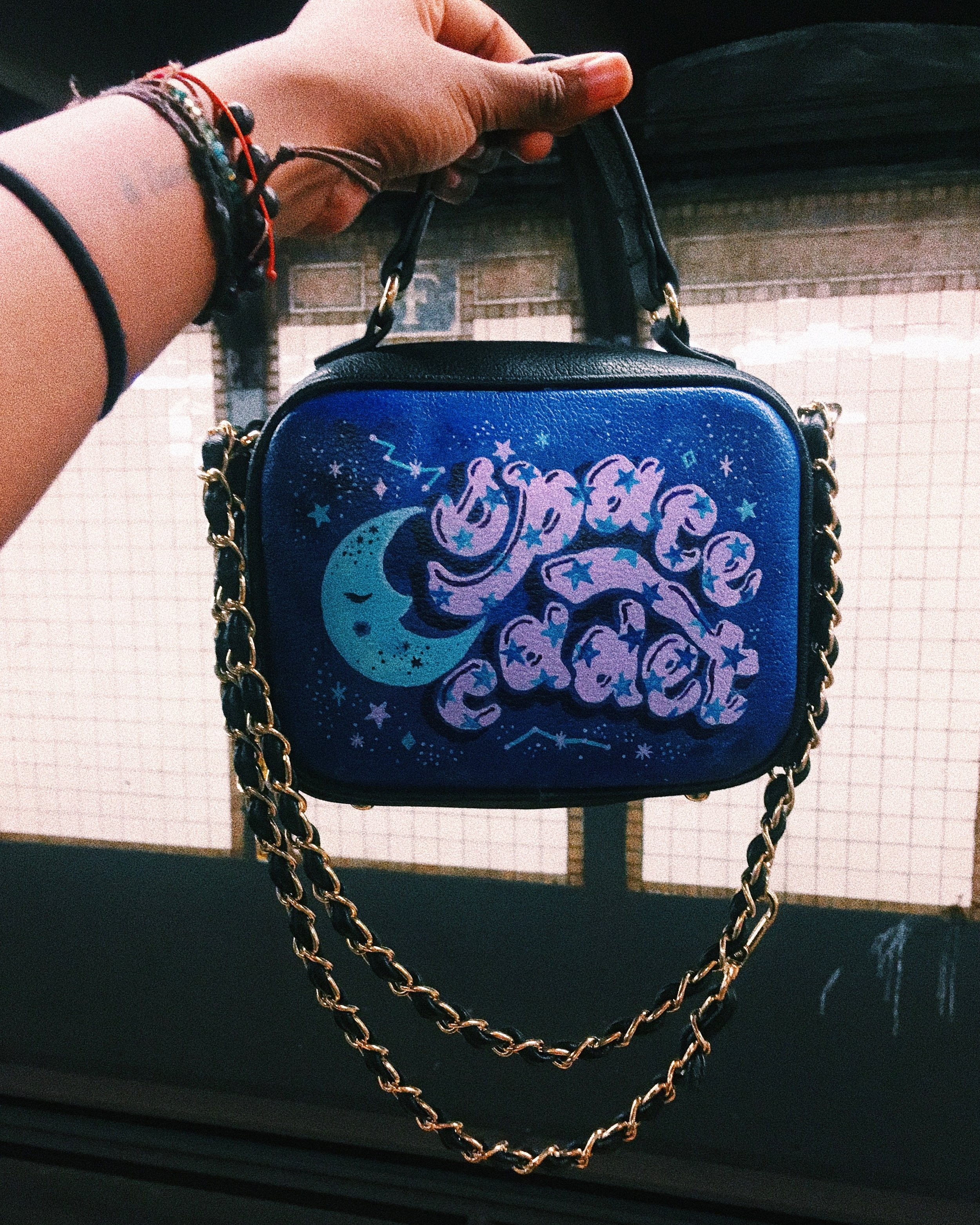 painted space cadet purse  - 2/3 bags I customized for 3 babes KILLING their side hustle. Check out Naika's insta + website!
