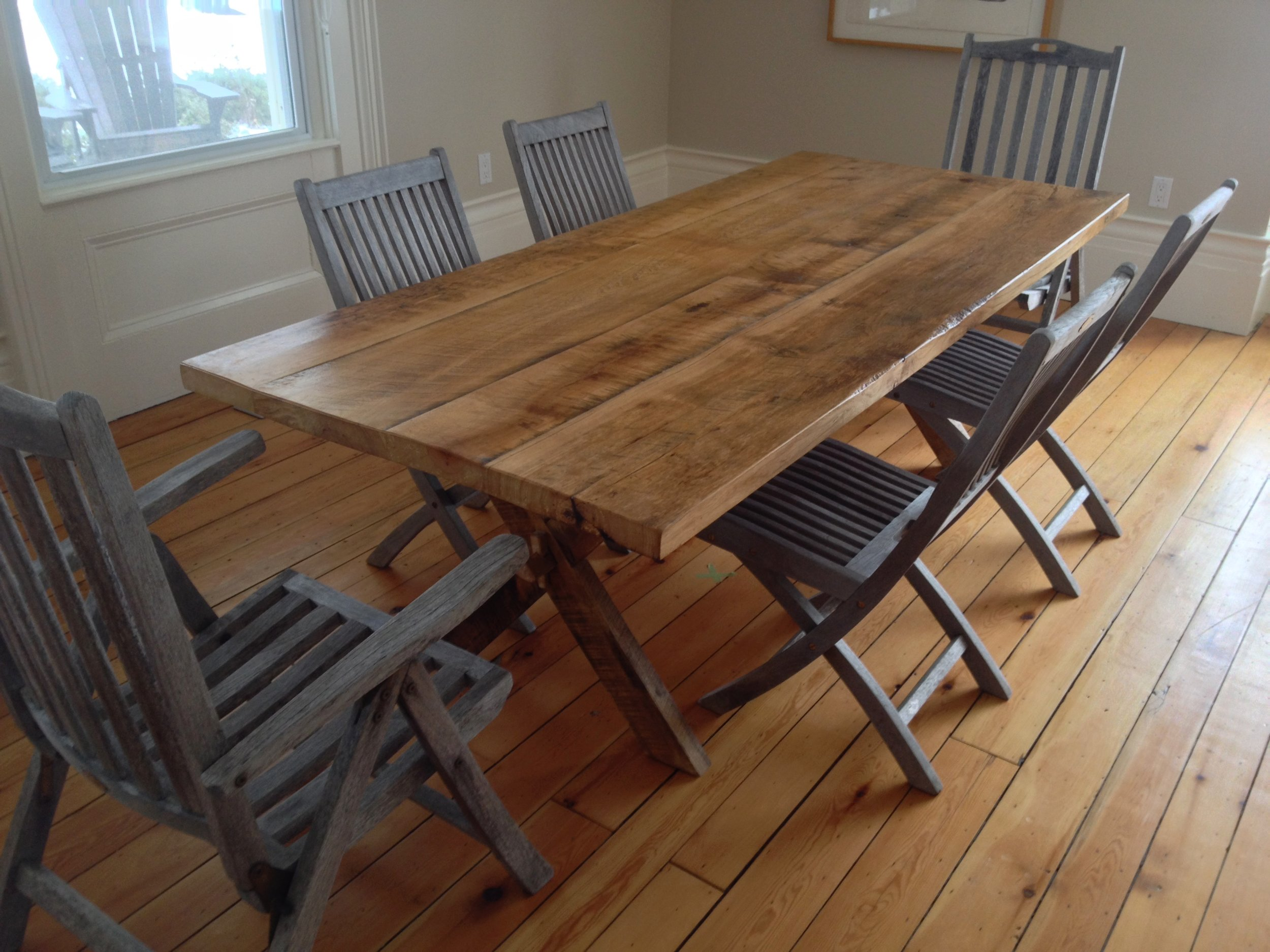 BeReclaimed - Bespoke Reclaimed Wood Table - Ash Salvaged from a Barn with a Wooden Trestle Base in Prince Edward County.jpg