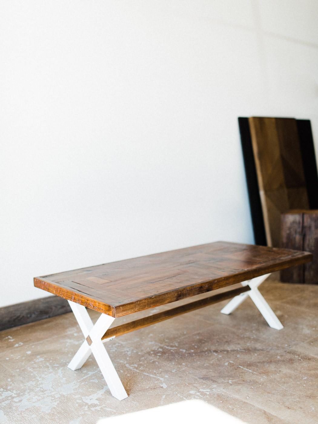 BeReclaimed - Custom Reclaimed Wood Coffee Table - Brown Barnboard on a Custom Welded White X frame.jpg