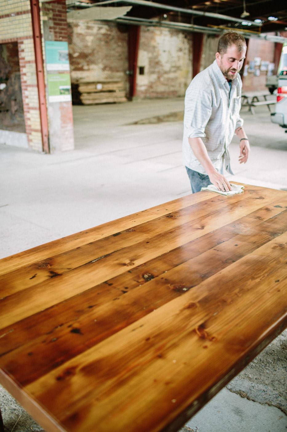 BeReclaimed - Reclaimed Wood Table - Custom Douglas Fir with Steel Skirt and Wooden Legs- The Beaches Toronto.jpg