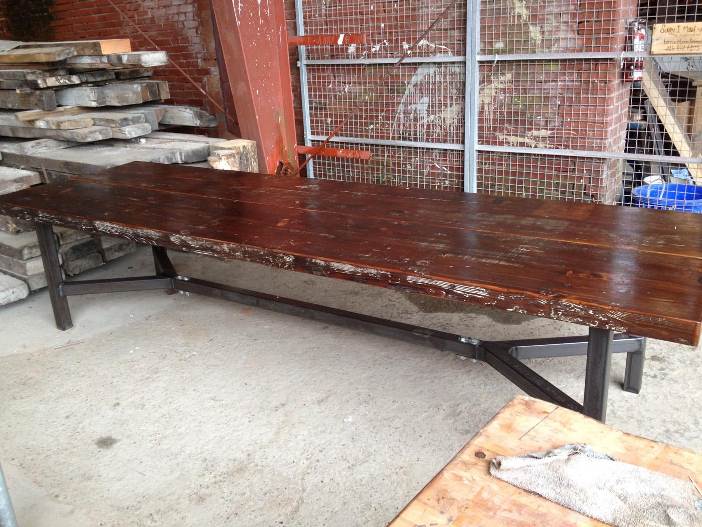 BeReclaimed - Reclaimed Wood Table - Douglas Fir - Custom Steel Base.jpg