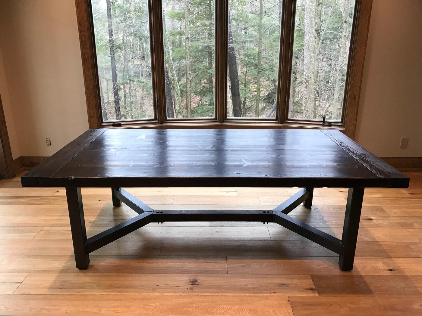 BeReclaimed - Reclaimed Wood Table - Douglas Fir on a Custom Steel Base - Wood Salvaged from Distillery District Toronto.jpg