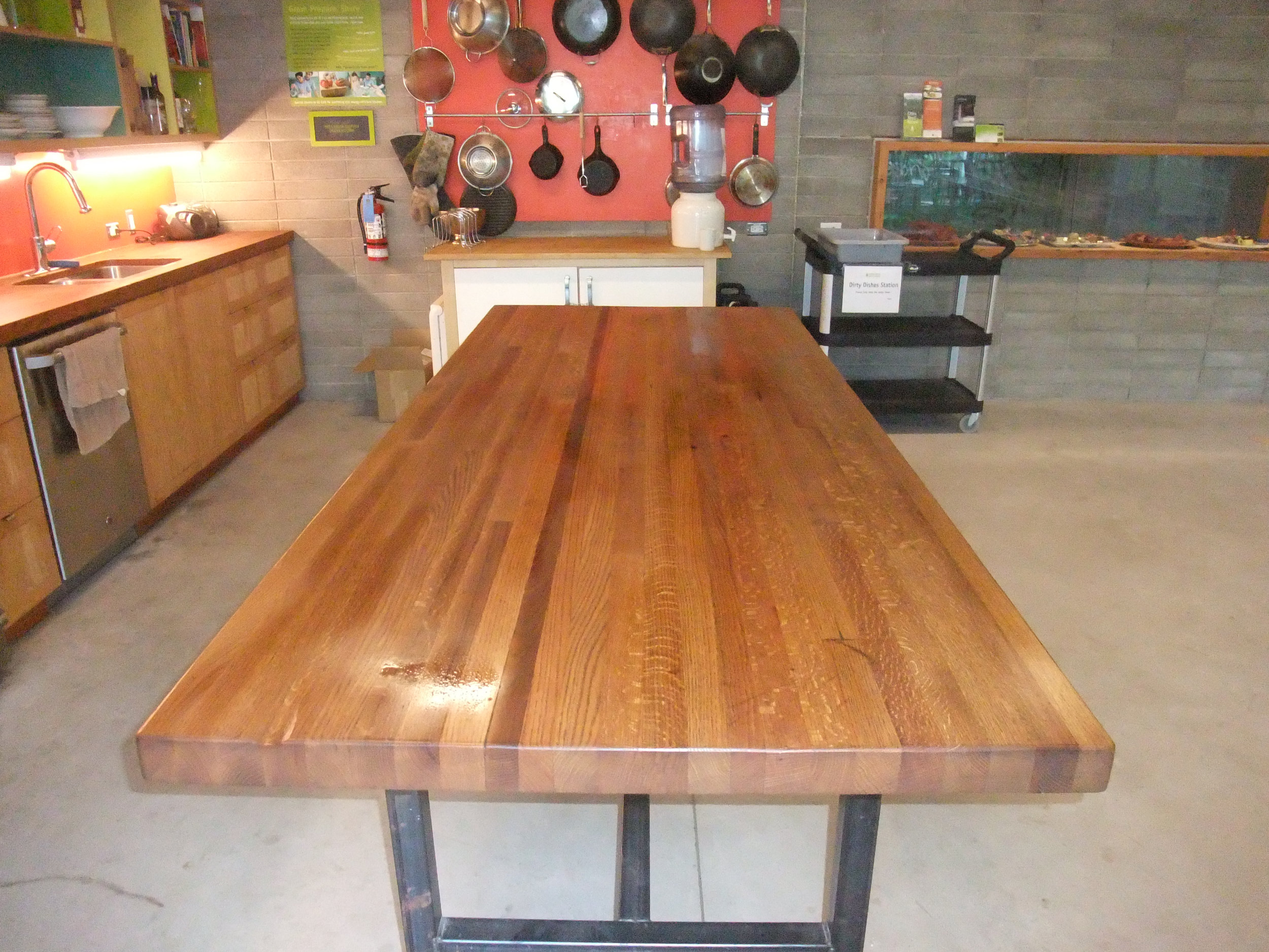 BeReclaimed - Reclaimed Wood Table - Oak from Pearson Airport with Custom Welded Steel Frame at Evergreen Brick Works.jpg