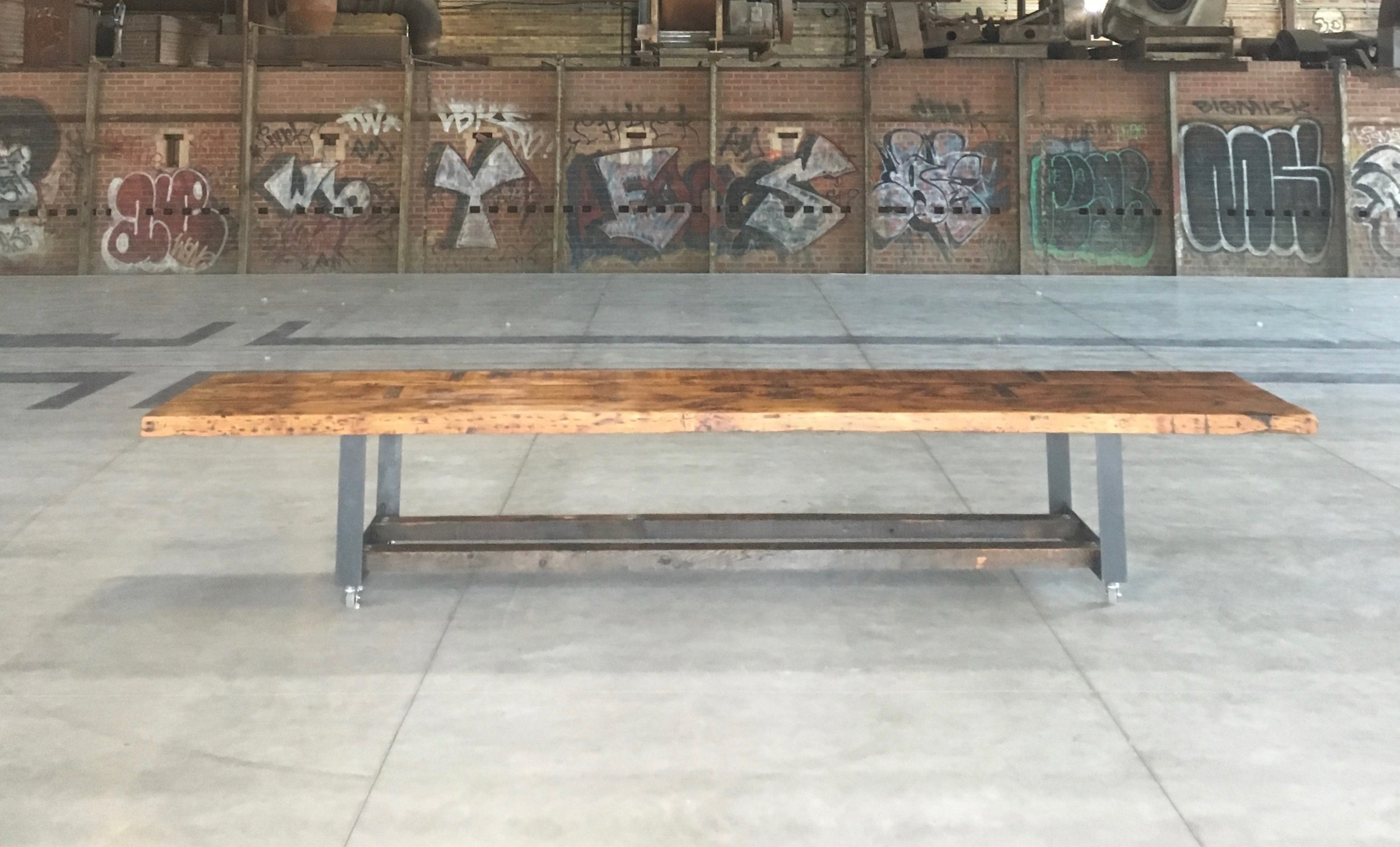 BeReclaimed - Reclaimed Wood Table - Salvaged Pine on Custom Metal Legs - Evergreen Brick Works.jpg