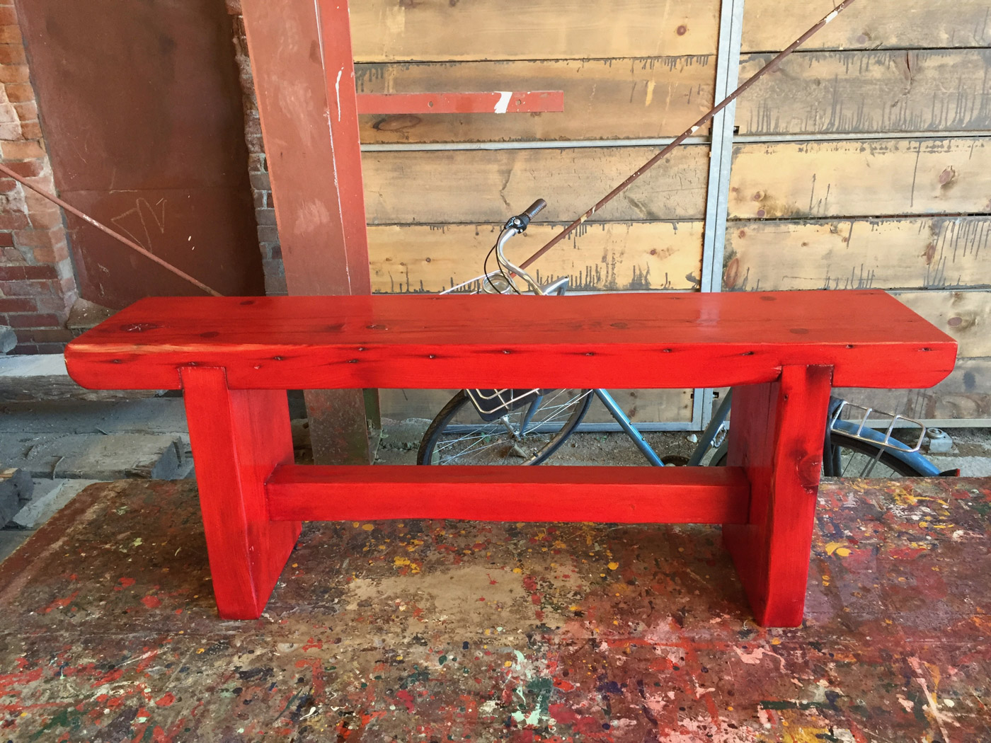 BeReclaimed - Custom Reclaimed Wood Bench - Red Trestle Bench - Toronto.jpg