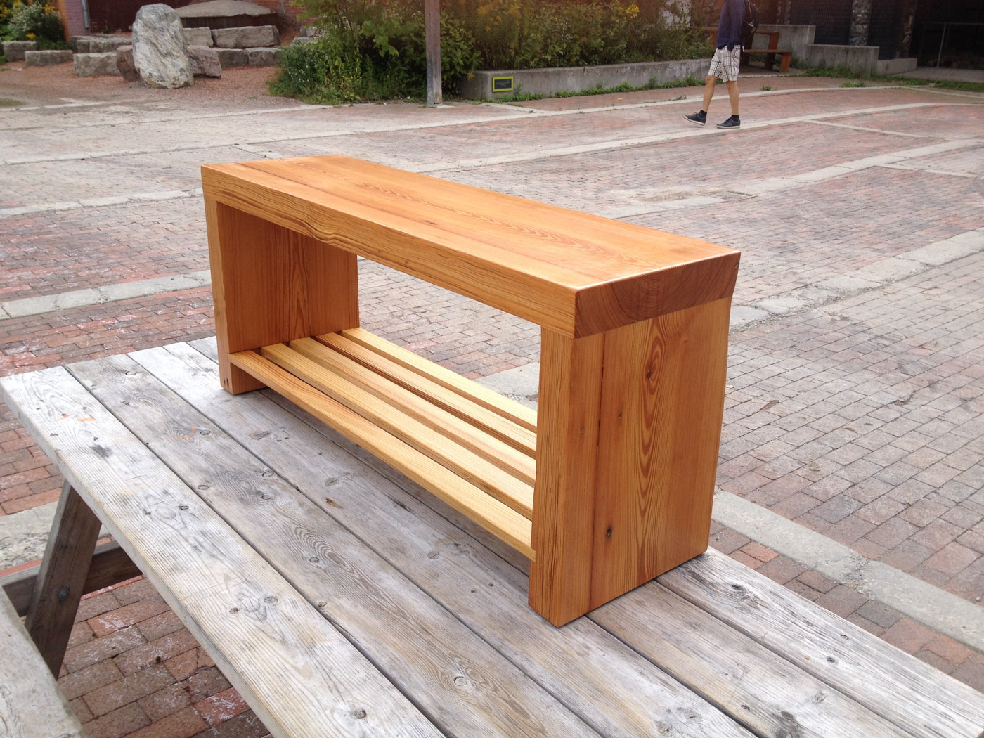 BeReclaimed - Reclaimed Wood Bench - Custom Made Douglas Fir Bench with shelf.jpg