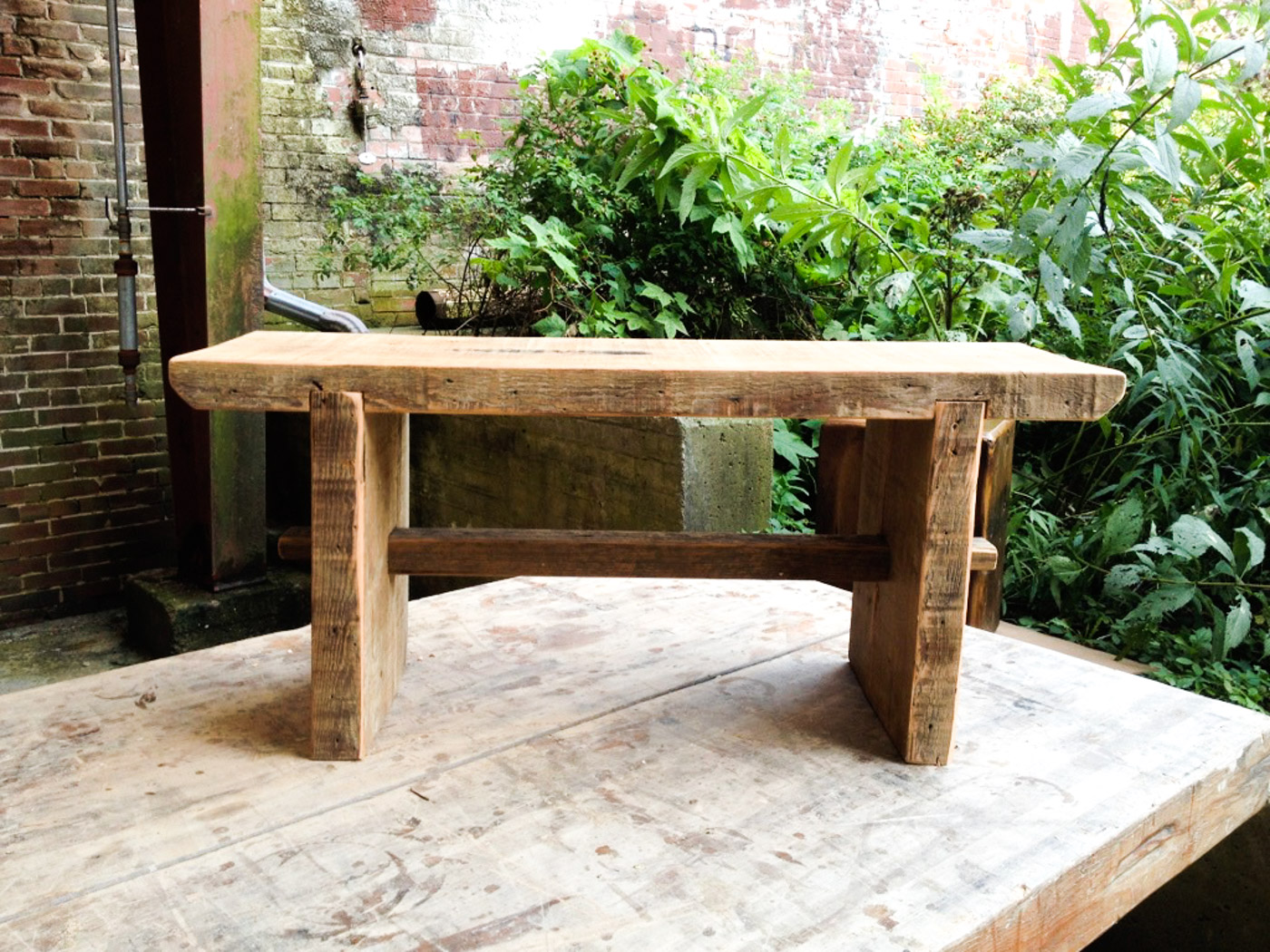 BeReclaimed - Reclaimed Wood Bench - Douglas Fir with Trestle - Evergreen Brick Works Toronto.jpg