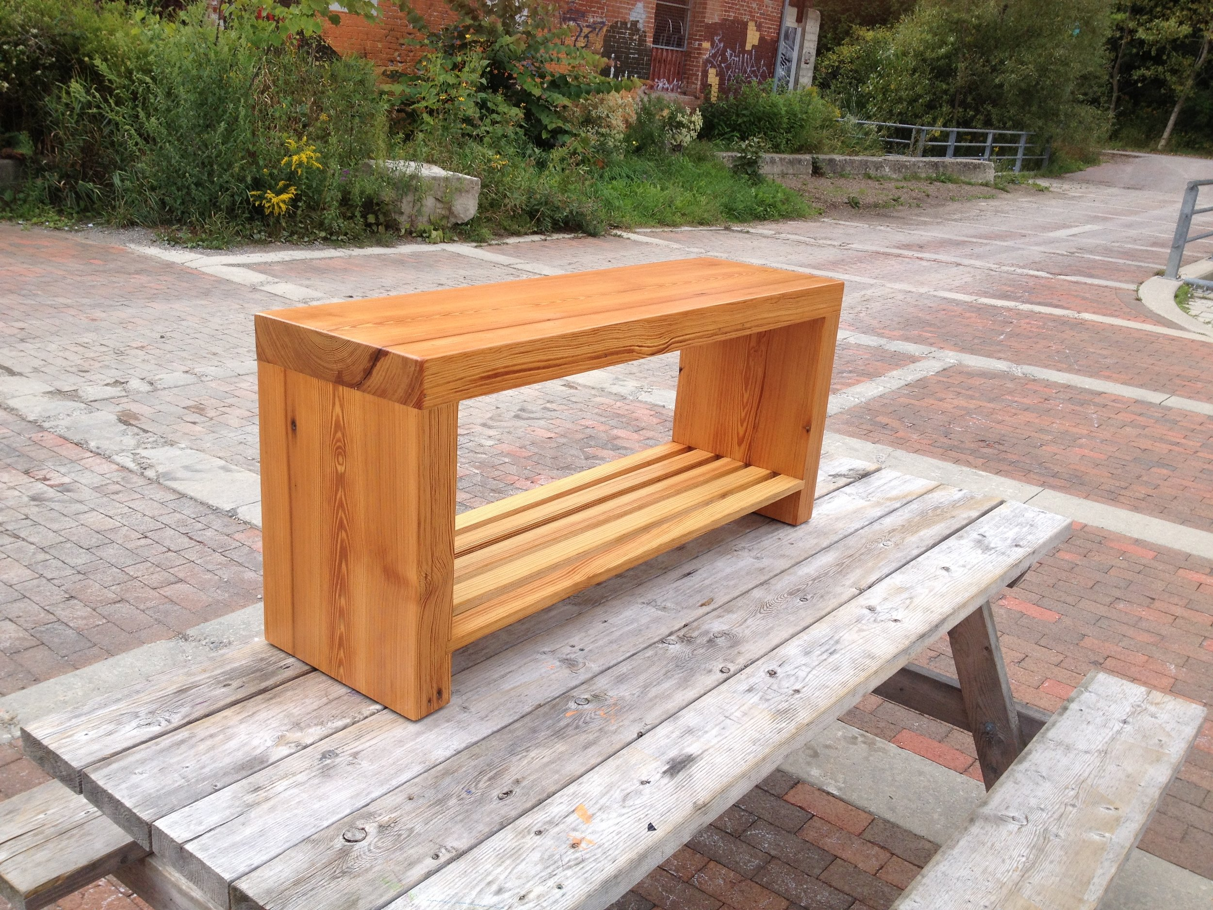 BeReclaimed - Reclaimed Wood Bench - Douglas Fir with Custom Shelf.jpg