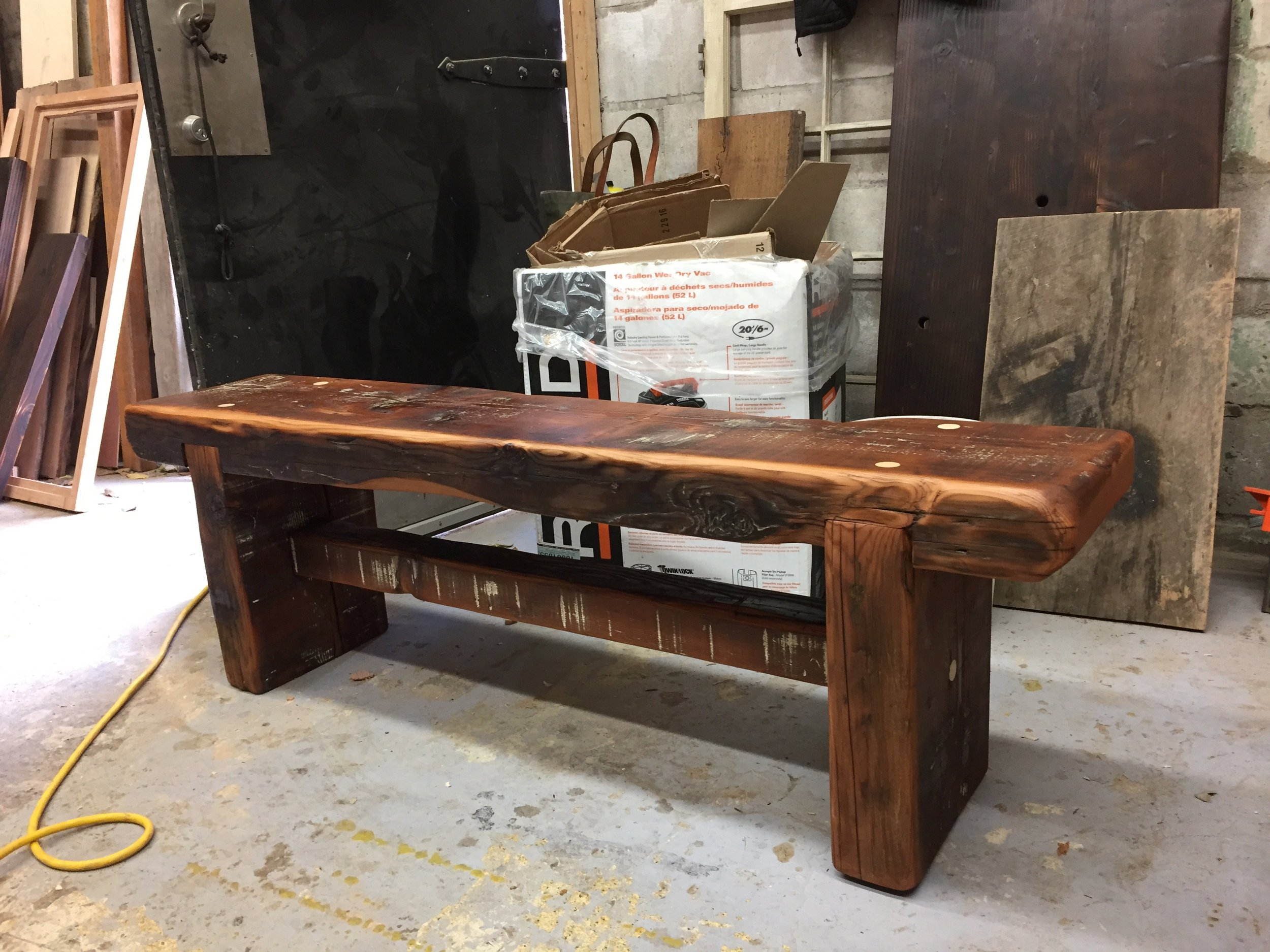 BeReclaimed - Reclaimed Wood Bench - Rustic Douglas Fir with Trestle.jpg