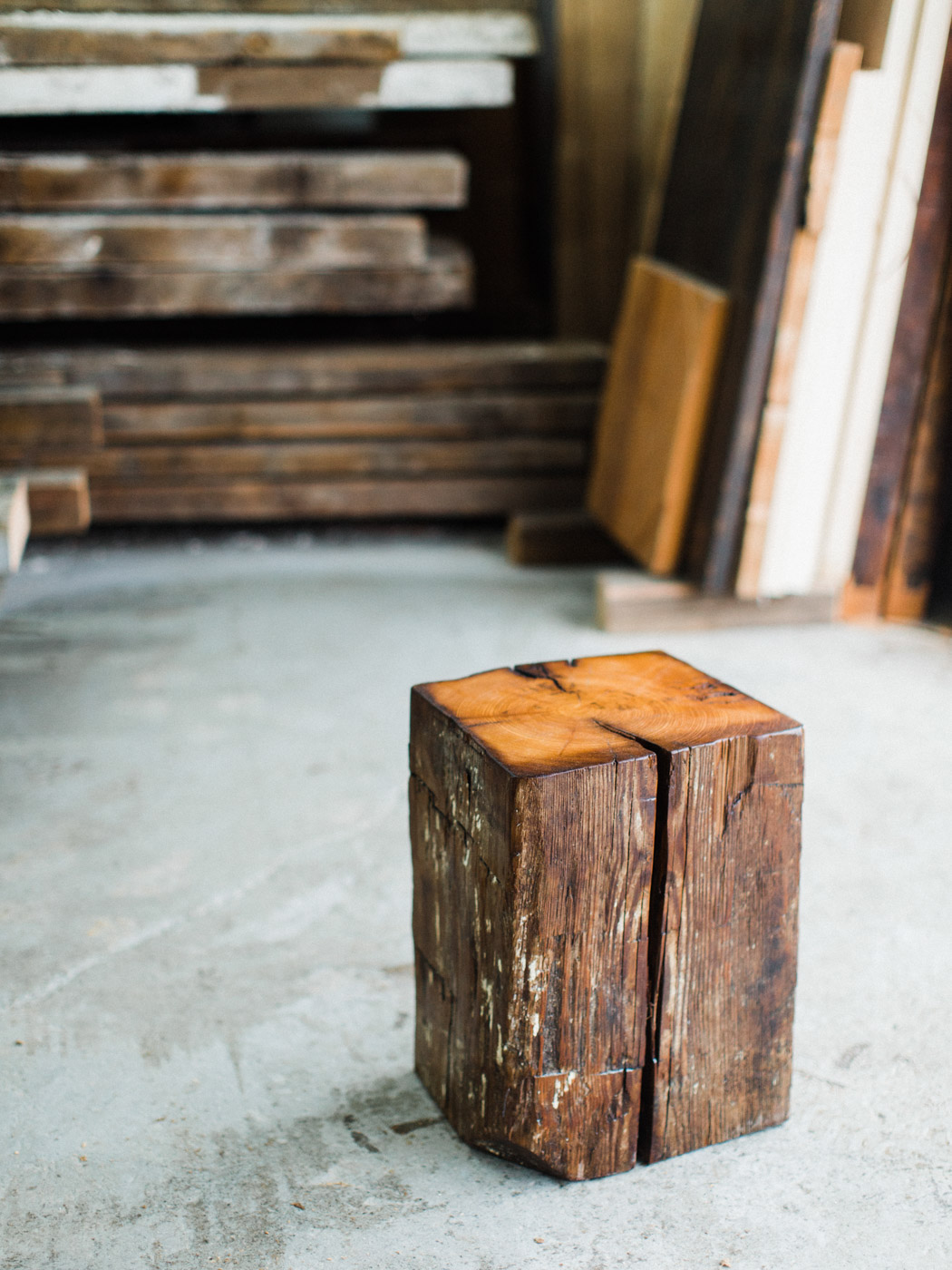 BeReclaimed - Reclaimed Wood Stool - Hemlock - Salvaged from Barn in Goderich Ontario.jpg