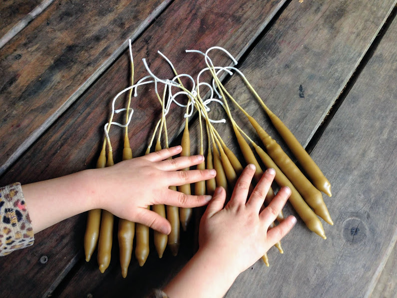 Hand-dipped beeswax candles