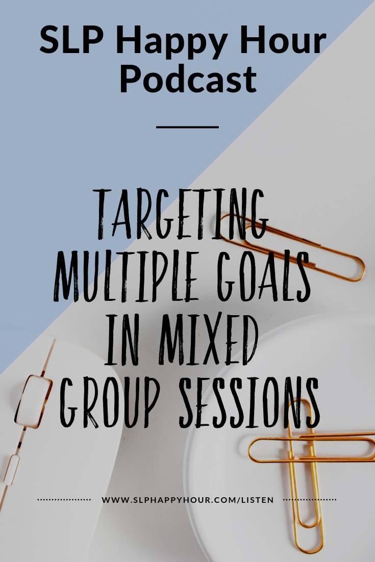 In this Episode, we interview Felice Clark from The Dabbling Speechie about how to manage mixed groups.  How can you target multiple goals in one session? How do you take data for groups with different goals? How can you manage behavior and stay organized while targeting so many different objectives?  Felice has got you covered with that, and lesson ideas for mixed groups. Listen in, and be ready to manage your mixed group with more fun and ease! #slphappyhour #slppodcast #slpmixedgroups