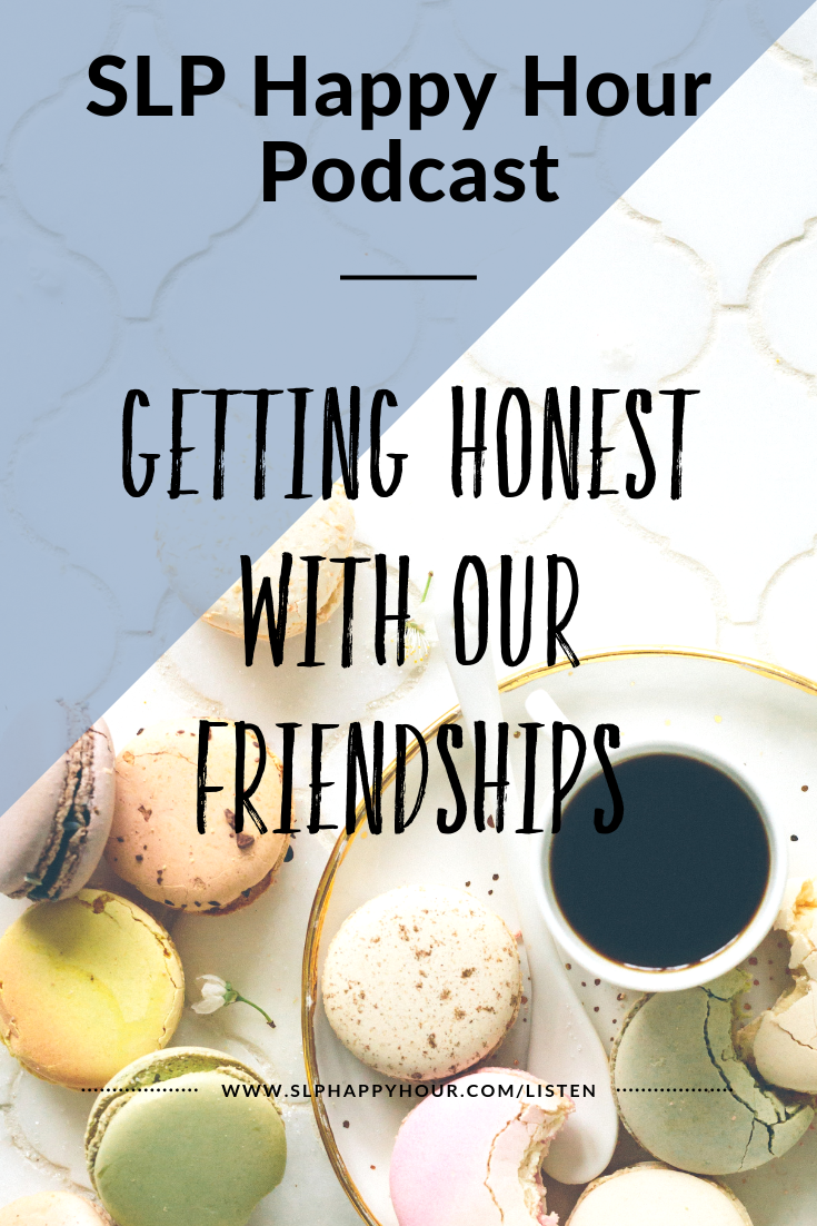 This episode, Sarah and Sarie talk about friendships (including SLP friendships).   How did the co-hosts meet?   What are their most annoying habits? Do Sarie and Sarah really get along? When there is conflict, what is it about?   How do you know when you need to get space from a friendship?  How do you handle friend break ups? How well do Sarie and Sarah really know each other? (With a pop quiz!)  #slphappyhour #slpfriendships