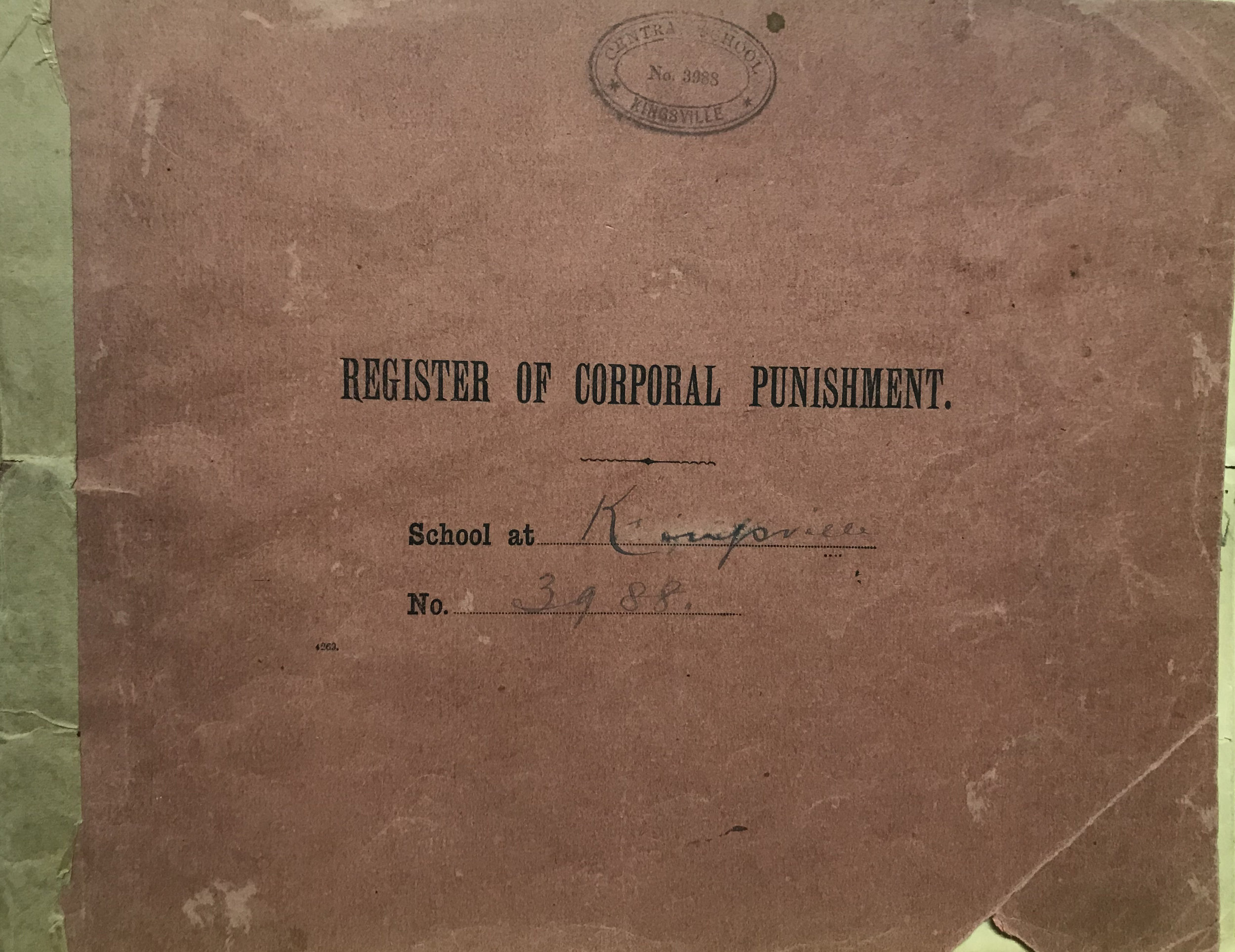 One of the school's registers of corporal punishment - this was used to record which teachers were allowed to use corporal punishment on the students