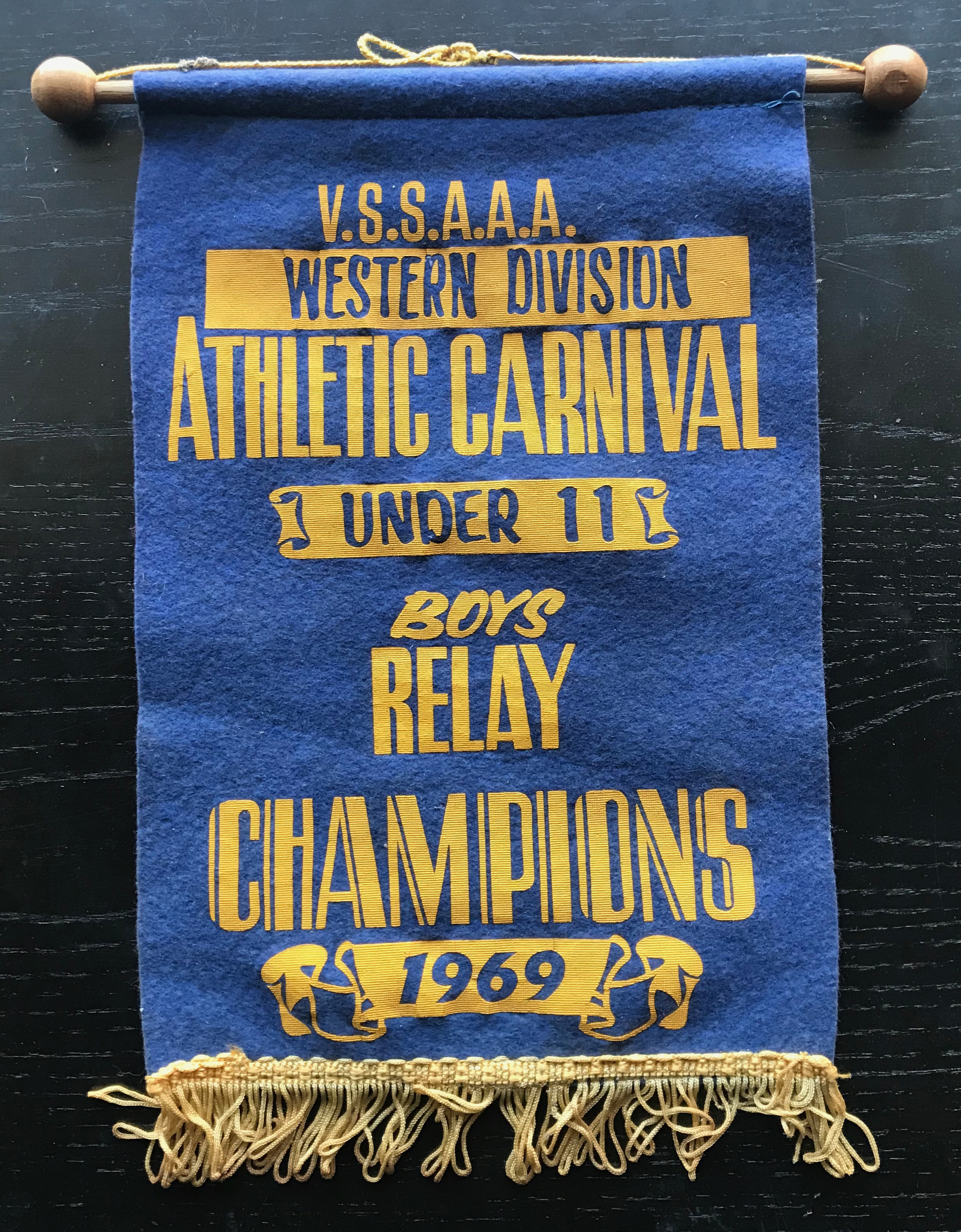 1969 sports penant for the boys relay