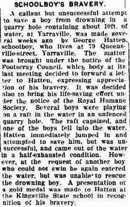 Article about george hatten, The Daily Telegraph, 02/12/1924