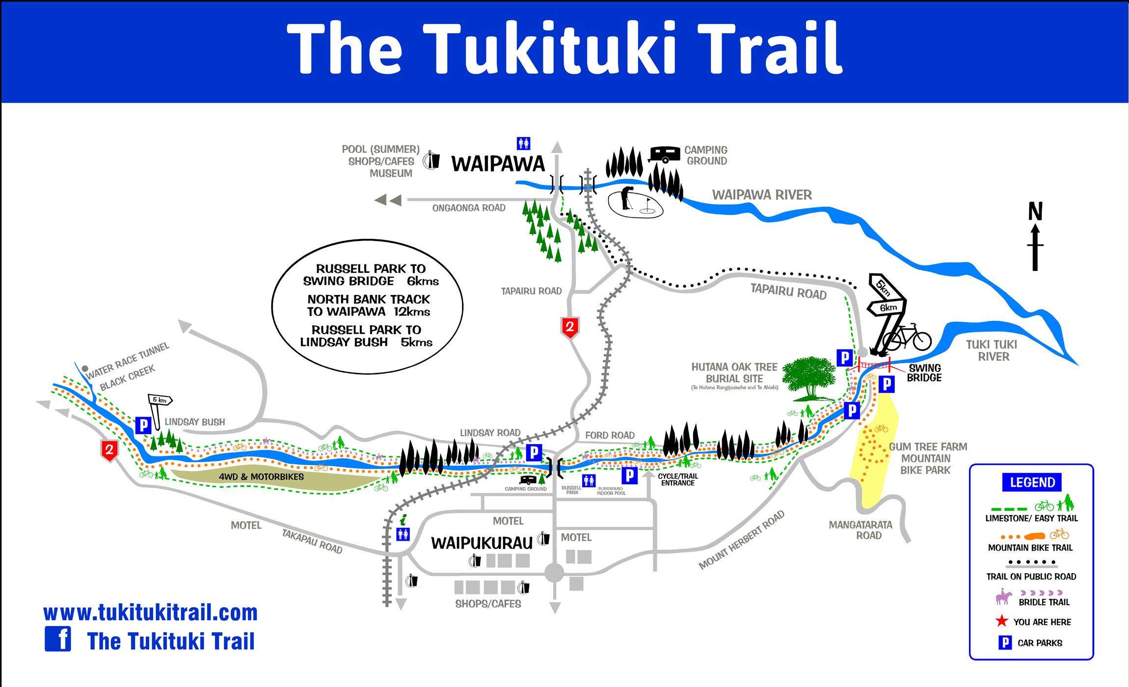 Tuki Tuki Trails map