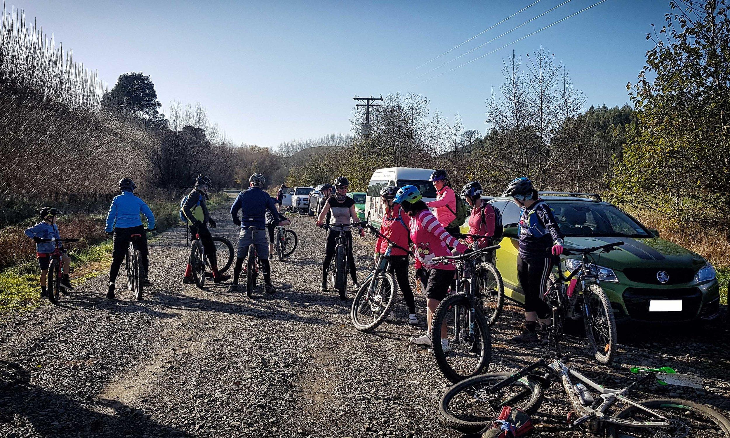 Hastings women's Mnb club at the Gum Tree Mountain Bike Park
