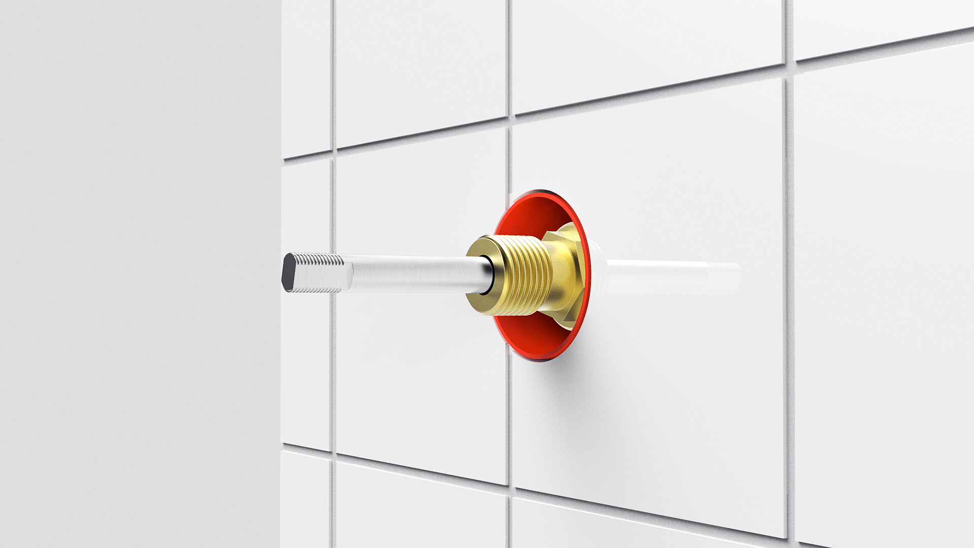 6. Sealing sleeve is trimmed flush with tiles. - Install new spindle valve.
