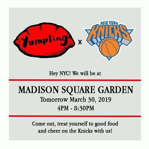 Hey Yumpling fans! We are excited to announce that we will be at Madison Square Garden TOMORROW (Sat 3/30) from 4PM-8:30PM! We will be serving up our regular menu so come on out, grab some food and cheer on our @nyknicks! 🥟🏀 (Please note that our braised beef rice bowl will be served from 6:30PM, limited quantities available.) See you at the garden!