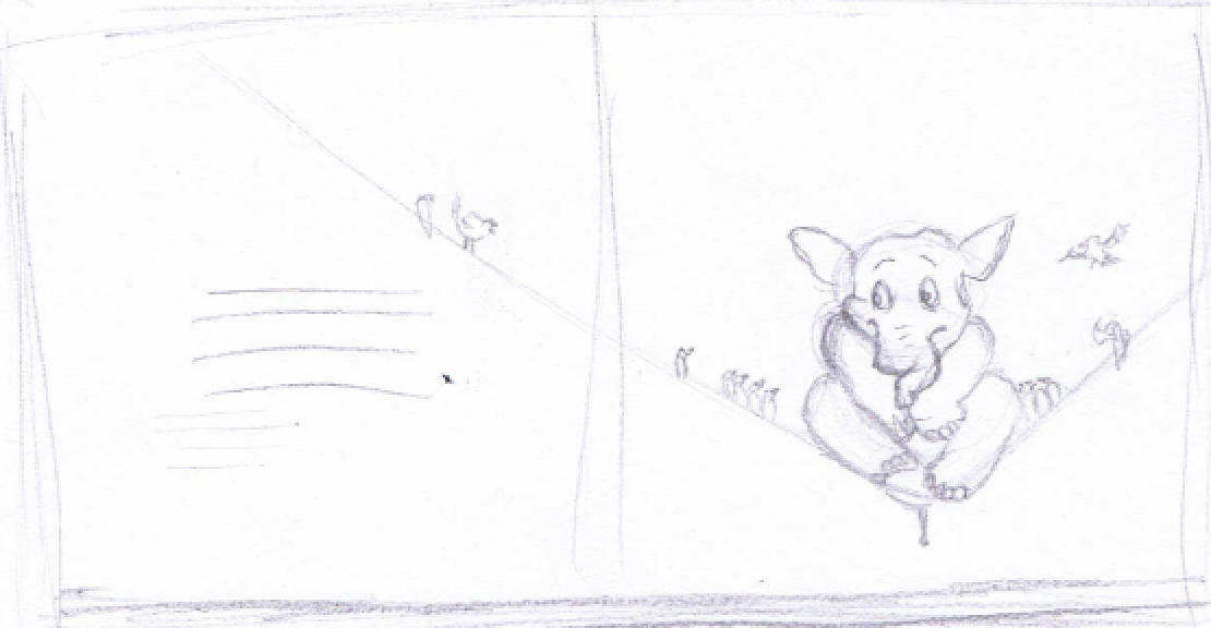 quick story board thumbnail sketch of a spread from 'The Elephant Who Forgot What he Was'