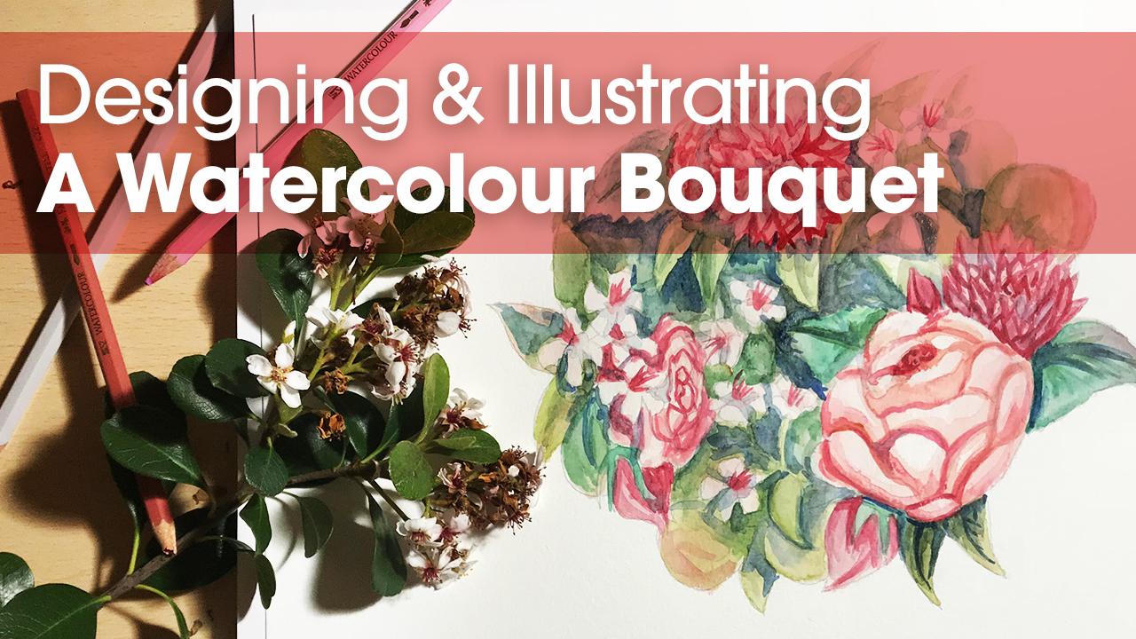 Illustrating a watercolour Bouquet