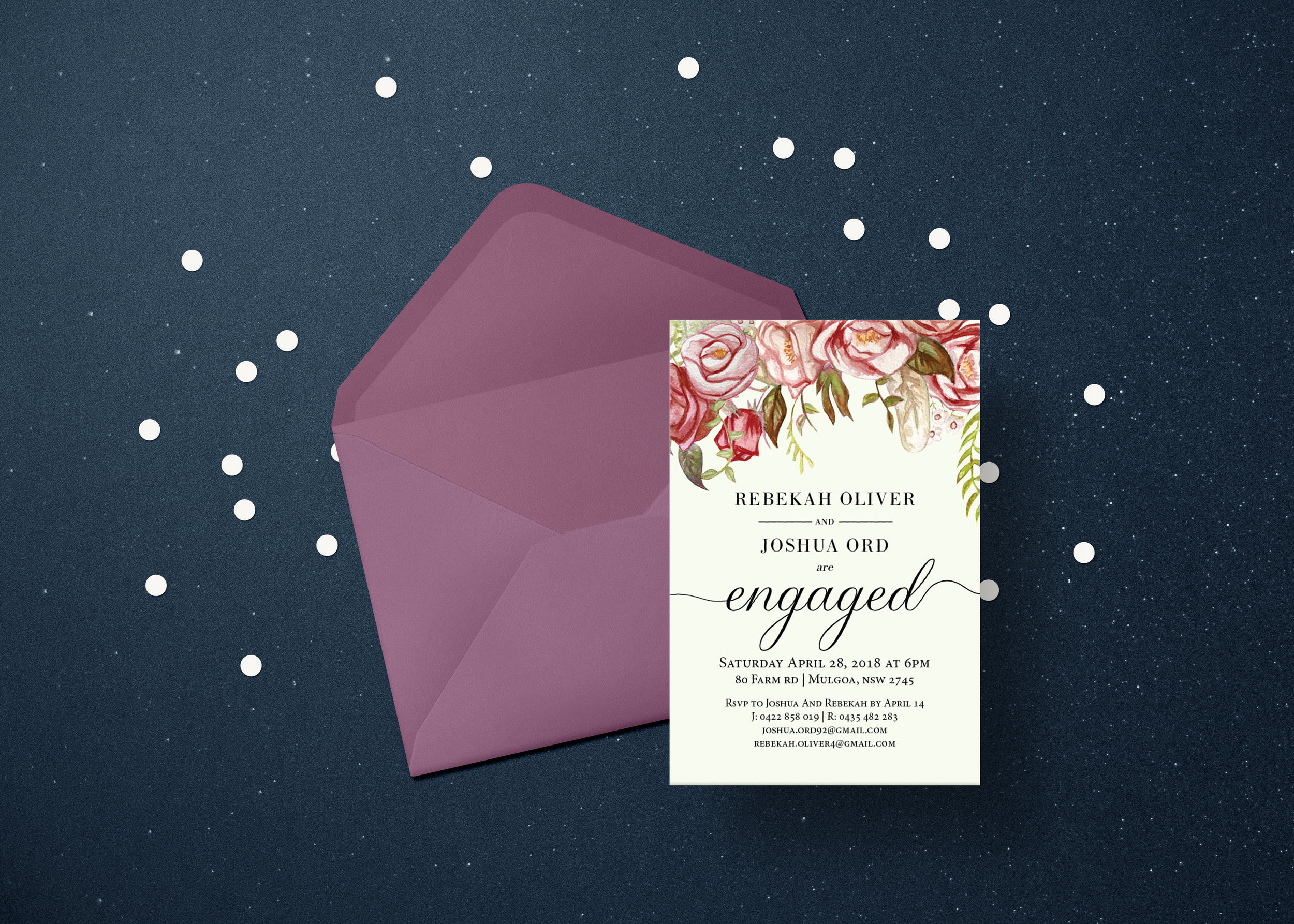 Engagement invitions design with custom illustrations