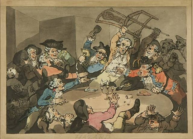 Kick-up at the Hazard Table  by Thomas Rowlandson, 1787