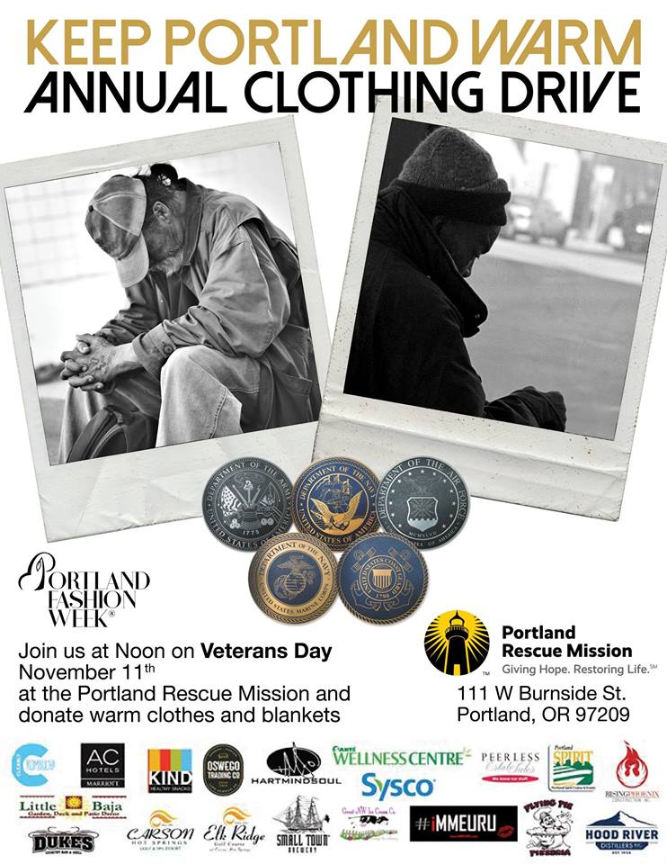 Since 2003 PFW has raised over 20,000 lbs of - clothing as well as donated thousands of blankets, sleeping bags, and coats to our homeless.This year we have brought in over 400 lbs on our first donation with approx 2,000 lbs to still bring in. We are also still scheduling donations for pick upContact us at volunteer@portlandfashionweek.net to learn more or schedule a pick up.