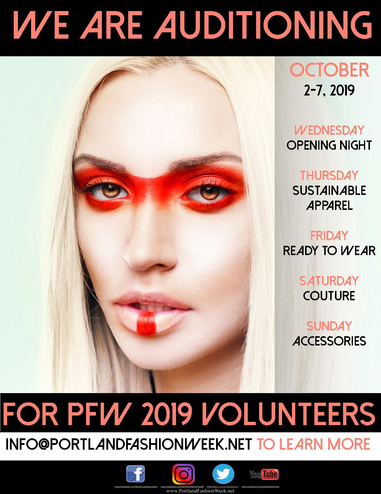 We want YOU - For Portland Fashion Week 2019! Put your skills and talents to good use working with the world's most sustainable fashion week. Email us for more information.
