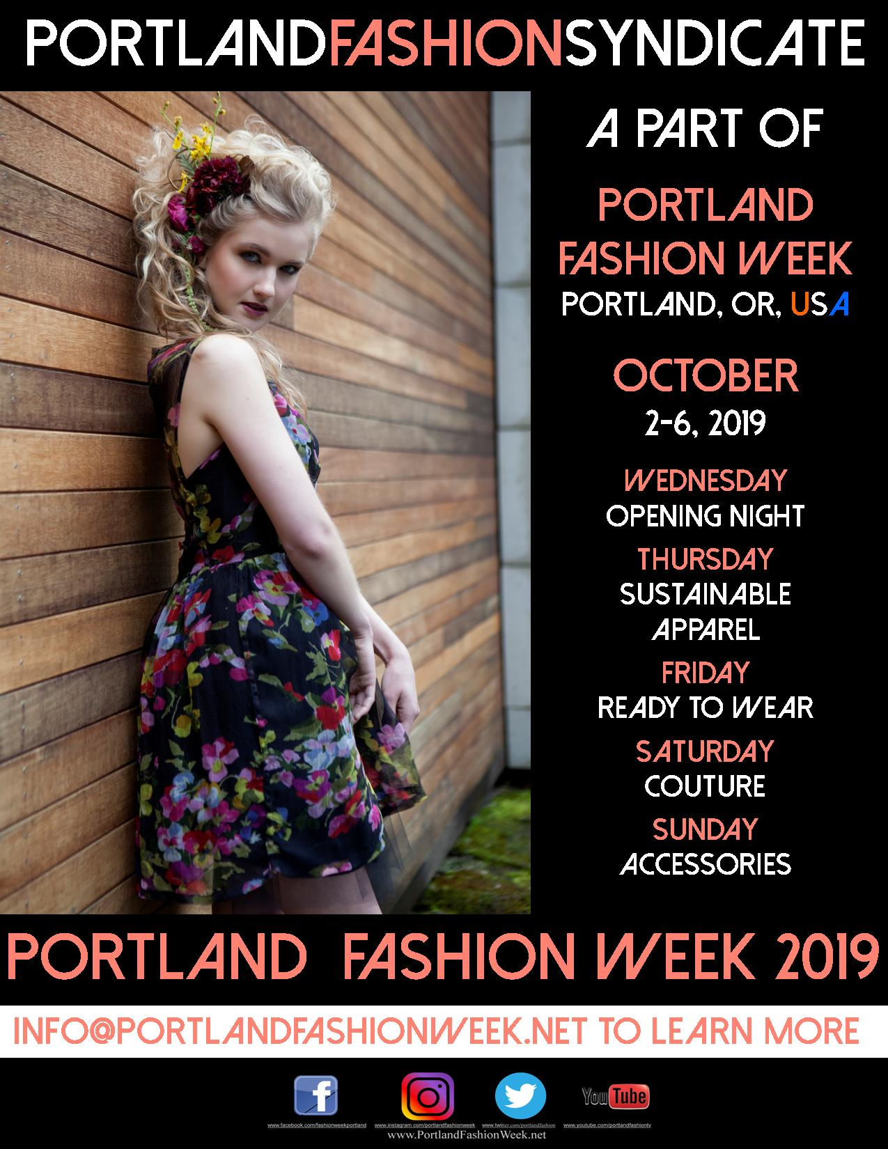 """The Portland Fashion Syndicate - The world's Portlands have united to show some of the most clever and stylish apparel on any runway. Watch for our """"Portland"""" Designers each night of the week!"""