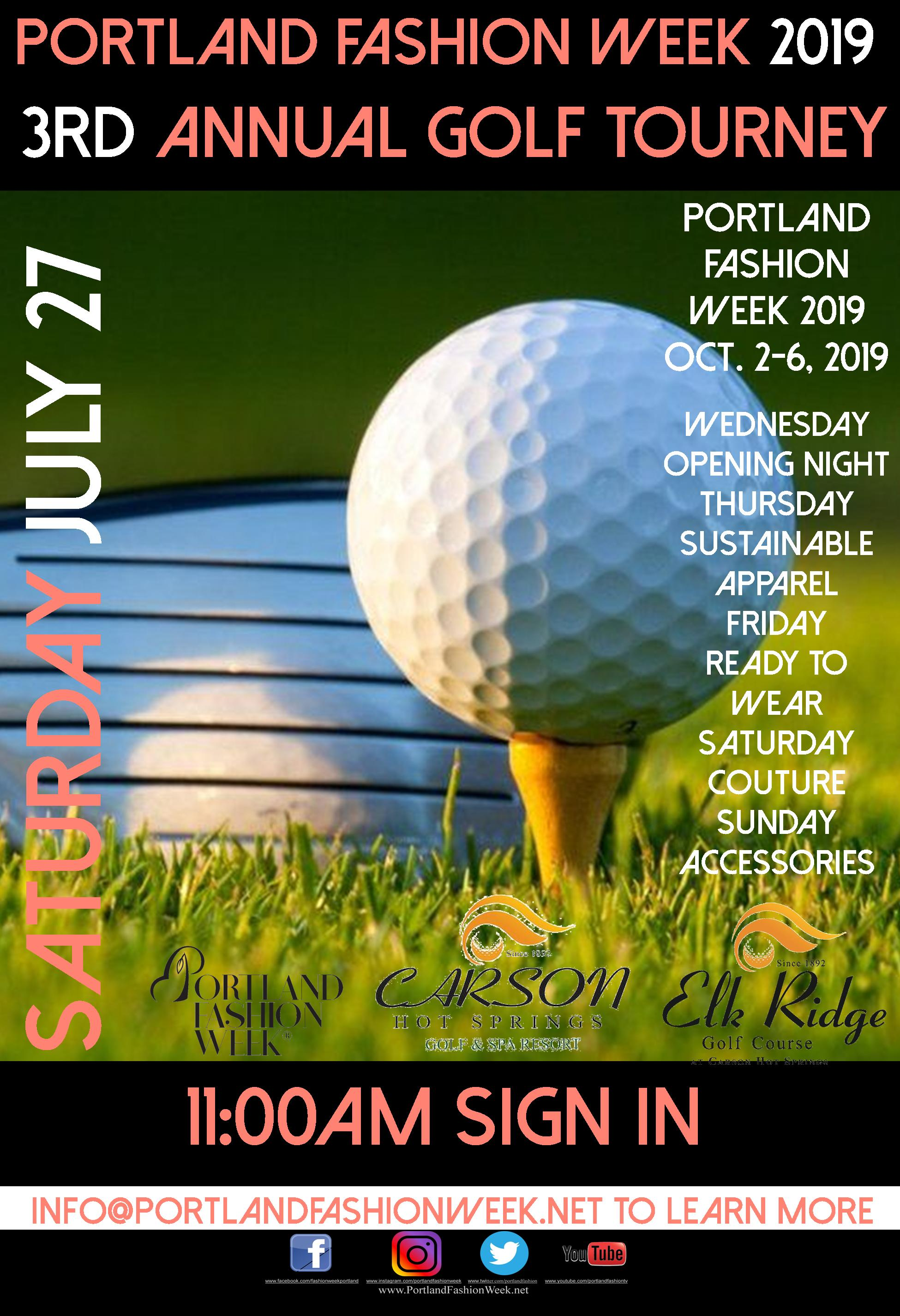 There is still time and plenty of room for your team now! - Contact Nick the golf pro at Elk Ridge to book your team at a discounted rate today! (509) 427-0127Itinerary: 10:30 am yogurt bar; live music featuring singer song writer Big Josh, and putting and driving range practicing. 11:00 am to Noon check in; noon to 1:00 pm competitions on the driving range with prizes for best drives; 1:00 shotgun start. With a $10K Bounty on the Par 5 4th Hole by Precision Services, a chic and fashionable evening and night time after party from the 9th hole featuring a ''special musical guest'' and thousands in cash and prizes beckon!Benefiting The Portland Fashion Foundation New and Expecting Mommies' Fund, a stop gap measure helping new and expecting at risk mothers meet monthly expenses.